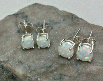 White Opal Earrings, Sterling Silver White Opal Earrings, Sparkly Round Opal Earrings, October Birthstone Earrings, Gemstone Appeal, GSA