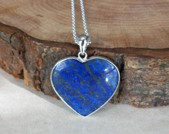 Lapis Lazuli Pendant Silver Chain Heart Lapis Lazuli Necklace Genuine Lapis Lazuli Necklace Different Lapis Lazuli Gemstone Necklace N0792