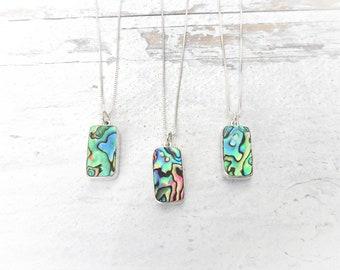 Handmade Genuine Rare Paua Abalone Shell Rectangle Necklace 1846 cms /& Earrings Gift Set