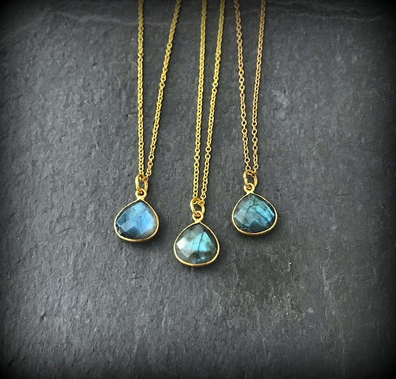 Mystic Flash Labradorite Faceted Necklace beaded Link 14k gold fill chain 18