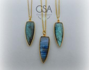 Labradorite Necklace//Gold Labradorite Necklace//Blue Flash Labradorite//Labradorite Flash Necklace Gold Chain//Genuine Labradorite Arrow
