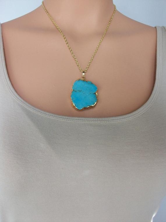 Free Form Gemstone Necklace Amazonite Necklace Unique Amazonite Necklace Gemstone Appeal Healing Crystal Amazonite Pendant GSA