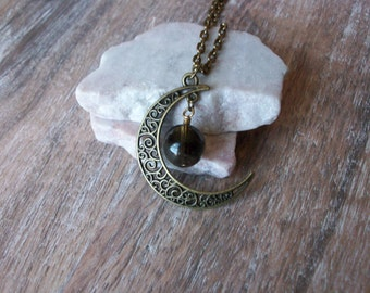 Moon Necklace/Moon Pendant with Floating Gemstone/Custom Bronze Moon and Galaxy Necklace/Boho Chic/Layering Necklace/Gemstone Moon/N0758