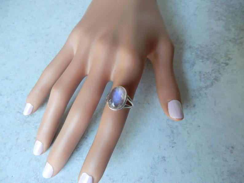 Gemstone Appeal Silver Moonstone Rings Blue Flash Moonstone Ring Rainbow Moonstone Ring GSA June Birthstone Genuine Moonstone Ring