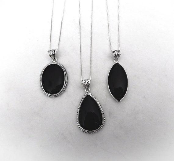 Stunning Jewelry Huge Black Onyx Gemstone 925 Silver Pendant
