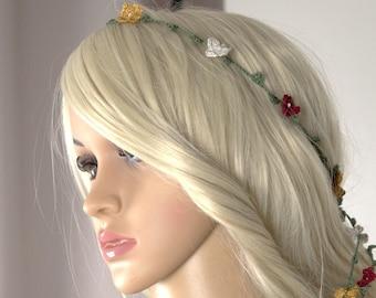 Floral Headband, Bohemian, Festival, Crochet Headband, Floral Headpiece, Gypsy Headpiece, Hipster Headband, Hair Accessory, Summer Headband