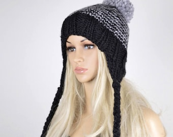 7e0af51b21abd5 Knit Chullo Hat, Winter Earflap Hat, Pom Pom Hat, Pom Pom Chullo, Stripes Earflap  Hat, Black and Grey Chullo Hat, Unisex Chullo