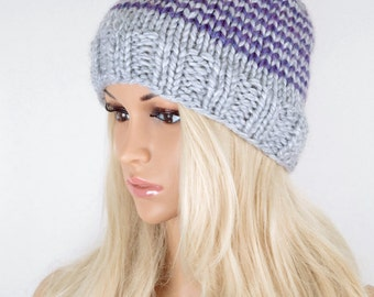 5d685c1bb667b4 Knit Hat, Winter Hat, Beanie Hat, Pom Pom Hat, Pom Pom Beanie, Fall Hat,  Slouchy Beanie Hat, Purple Grey Beanie Hat