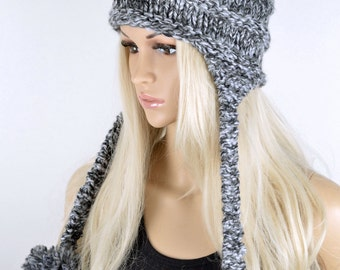 86098e8abe2611 Hat, Knit hat, Chullo, Ear Flap Hat, Pom Pom Hat, Winter Hat, Handmade Hat,  Chullo Hat, Gray Earflap, Wool Hat, Fashion Hat