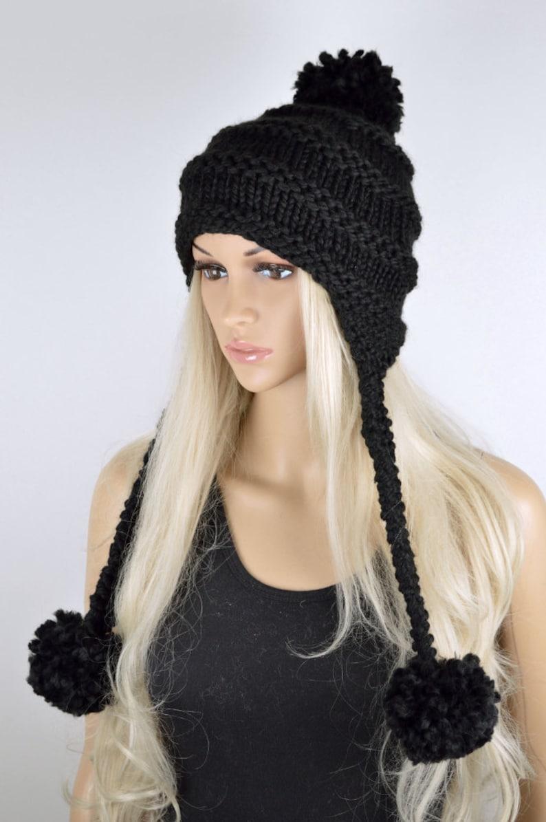 d0d4b796c Hat, Knit hat, Chullo, Ear Flap Hat, Pom Pom Hat, Winter Hat, Handmade Hat,  Chullo Hat, Black Earflap, Wool Hat, Fashion Hat