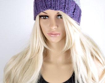 Knit Hat, Winter Hat, Beanie Hat, Pom Pom Hat, Pom Pom Beanie, Fall Hat, Fashion Beanie Hat, Purple Grey Beanie Hat, 2 Colour Hat