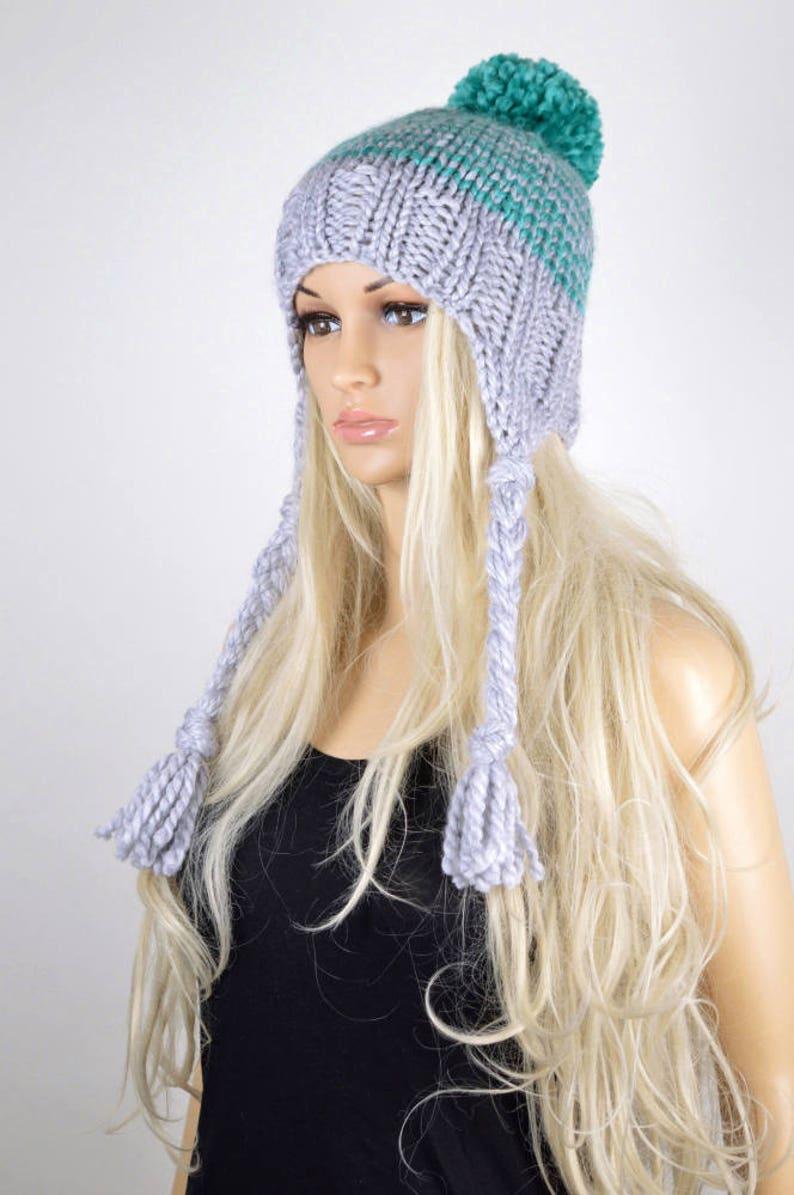084e91d6c01690 Knit Chullo Hat Winter Earflap Hat Pom Pom Hat Pom Pom | Etsy