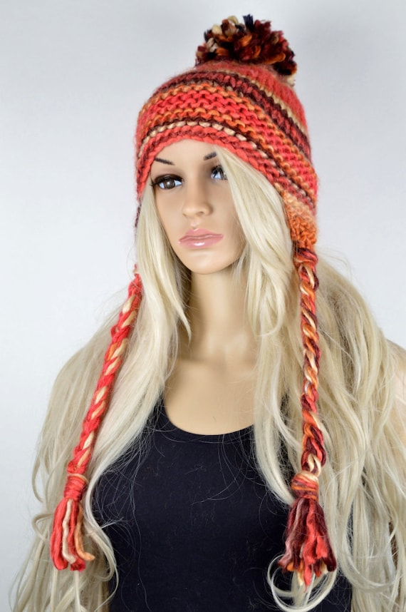 2f78cb902b15e3 Hat Knit hat Chullo Ear Flap Hat Pom Pom Hat Winter Hat | Etsy