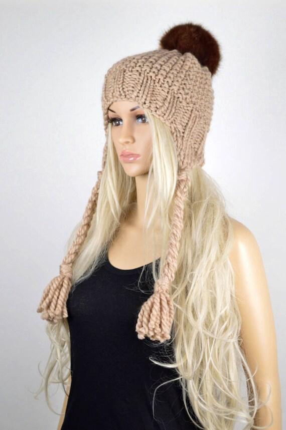 3b39f1bf50a Hat Knit hat Chullo Ear Flap Hat Pom Pom Hat Winter Hat