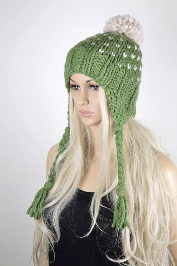 El sombrero del earflap Knit hat sombrero de Chullo Pom Pom | Etsy