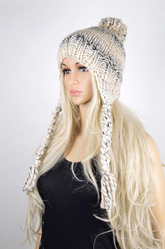 6a37f4282c0 Earflap Hat Knit hat Chullo Hat Pom Pom Hat Winter Hat
