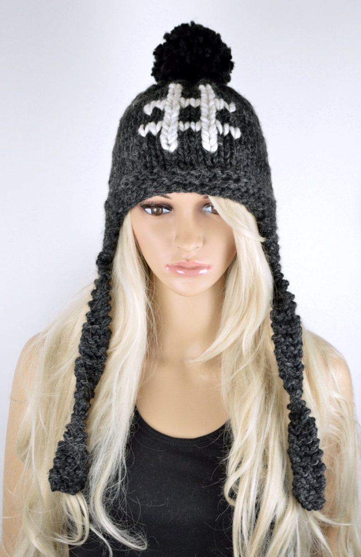 25dce98724fe6f Unisex Hat Hashtag Chullo Ear Flap Hat Pom Pom Hat Winter | Etsy