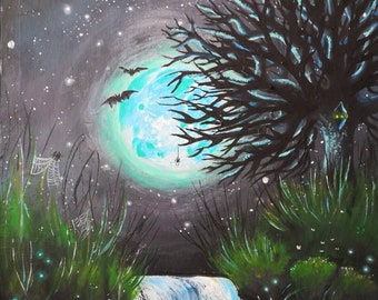 Nighttime Gothic Moon Painting - Night Animals, Bats, Spiders, Glow worms, Moths - Waterfall Nature Art - 59cm x 45cm - Acrylic on Canvas