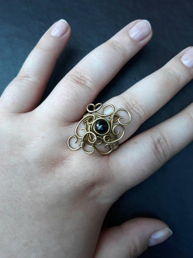 Solid Brass Filigree Swirl Statement Ring with Black Faceted image 0