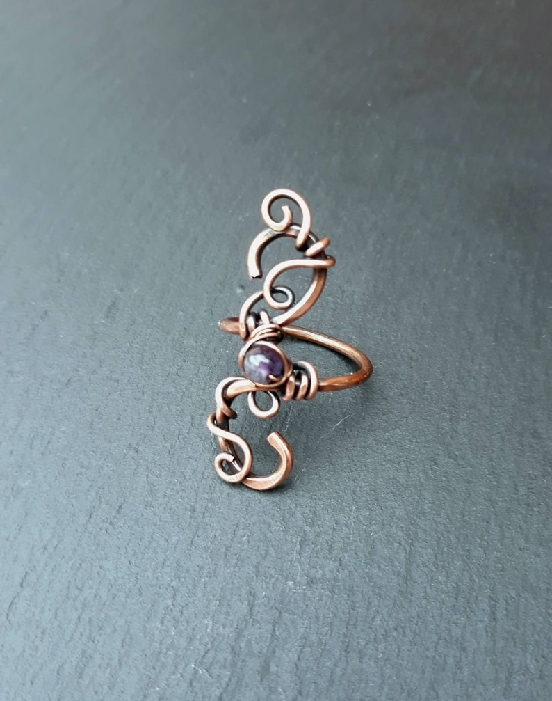 Amethyst Gemstone Wire Wrap Coil Twisted Ring  Gothic image 0
