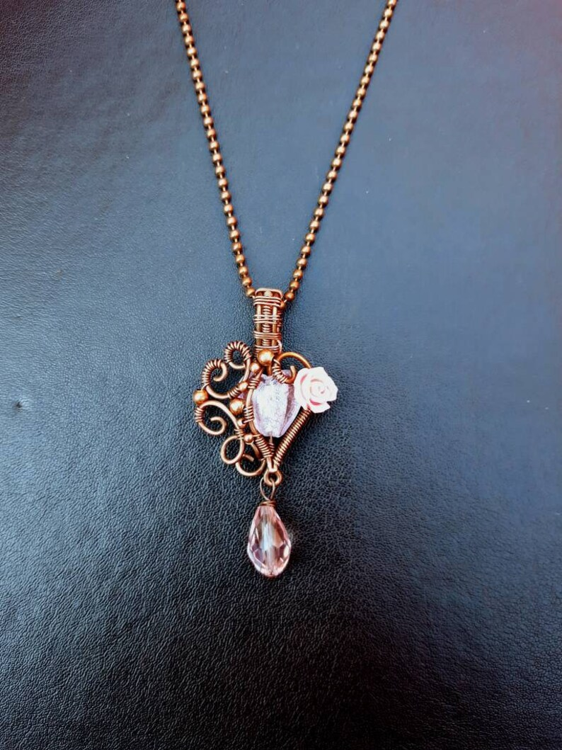 Baby Pink Heart Rose Pendant  Copper Wire-Wrap Cute Gothic image 0