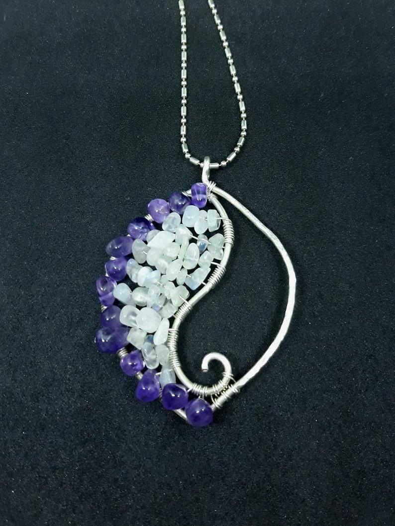 Rainbow Moonstone and Purple Amethyst Gemstone Silver Leaf image 0
