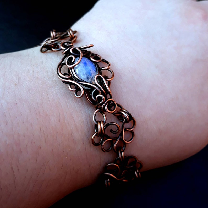 Blue Rainbow Moonstone Copper Wire-Wrapped Filigree Chain image 0