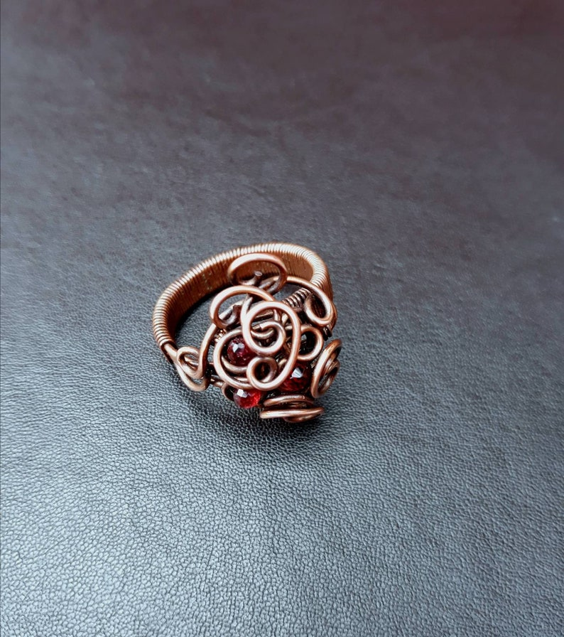 Red Garnet Gemstone Wire-wrapped Copper Ring Gothic UK Size image 0