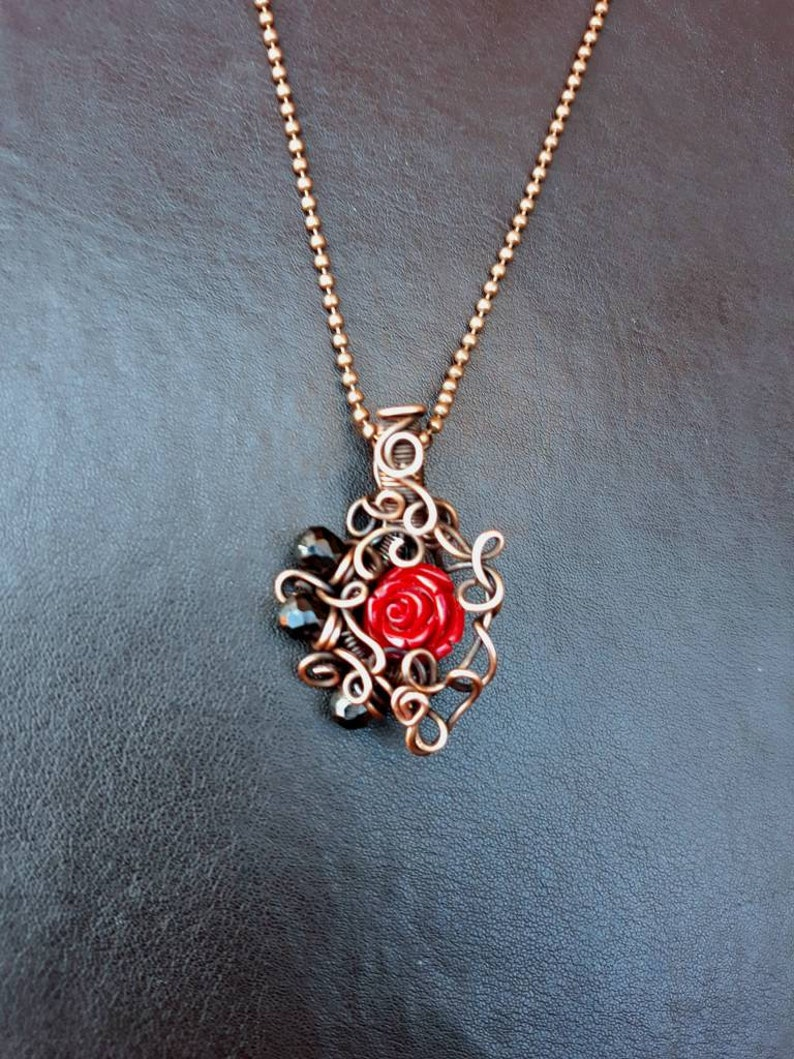 Red Rose & Black Spinel Wire-wrapped Copper Pendant  Gothic image 0