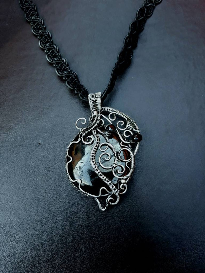 Natural Black Jet Gemstone Wire Wrapped Statement Pendant  image 0