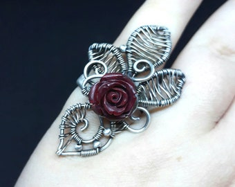 Burgundy Red Rose WireWrapped Gothic Silver Ring | UK Size N | Goth Floral Jewellery