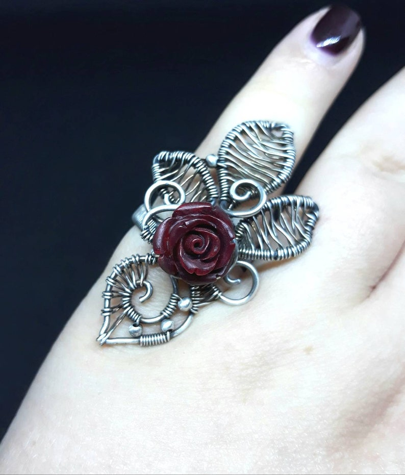 Burgundy Red Rose WireWrapped Gothic Silver Ring  UK Size N  image 0