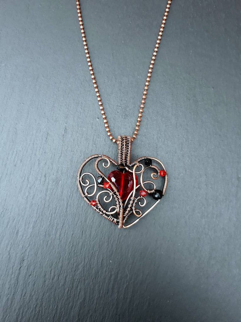 Gothic Red Heart Glass and Copper Pendant  Goth Crystal image 0