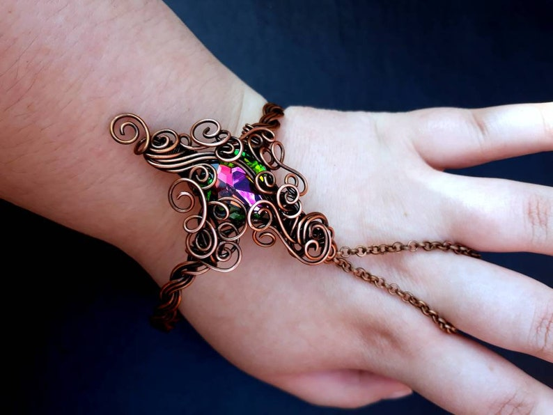 Solid Copper Wire-wrapped Ornate Slave Bracelet Bangle with image 0