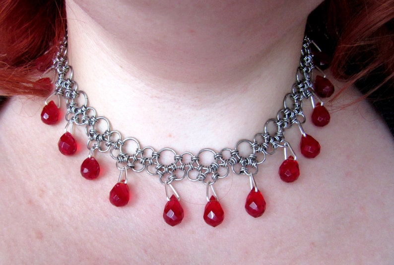 Stainless Steel Japanese Chainmail Gothic Vampire Choker with image 0