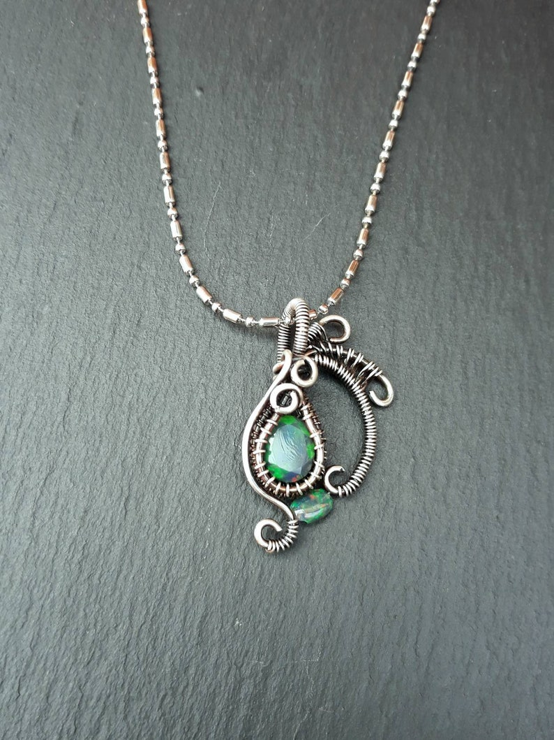 Silver Rainbow Opal Pendant  Green Red Welo Black Opal Gothic image 0