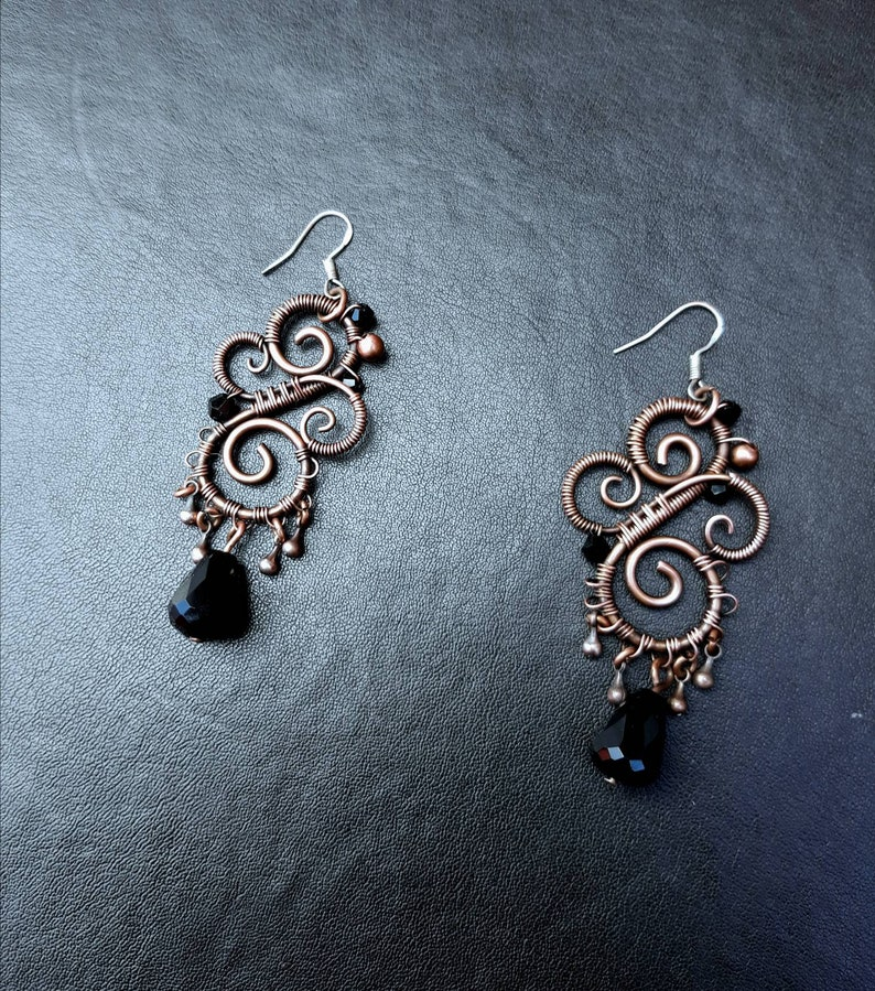 Copper Wire Wrap Black Crystal Swirl Earrings  Boho image 0