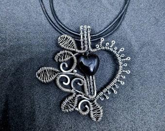 Silver Floral Leaf Black Heart Wirewrap Pendant | Gothic Openwork Filigree Necklace