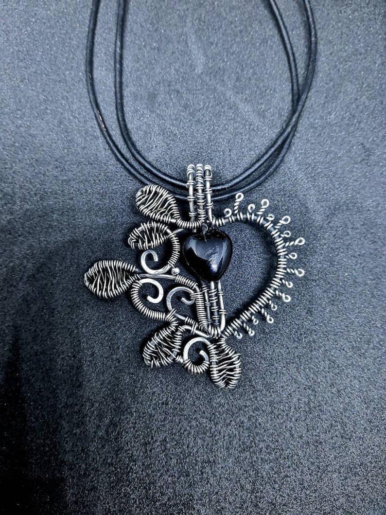 Silver Floral Leaf Black Heart Wirewrap Pendant  Gothic image 0