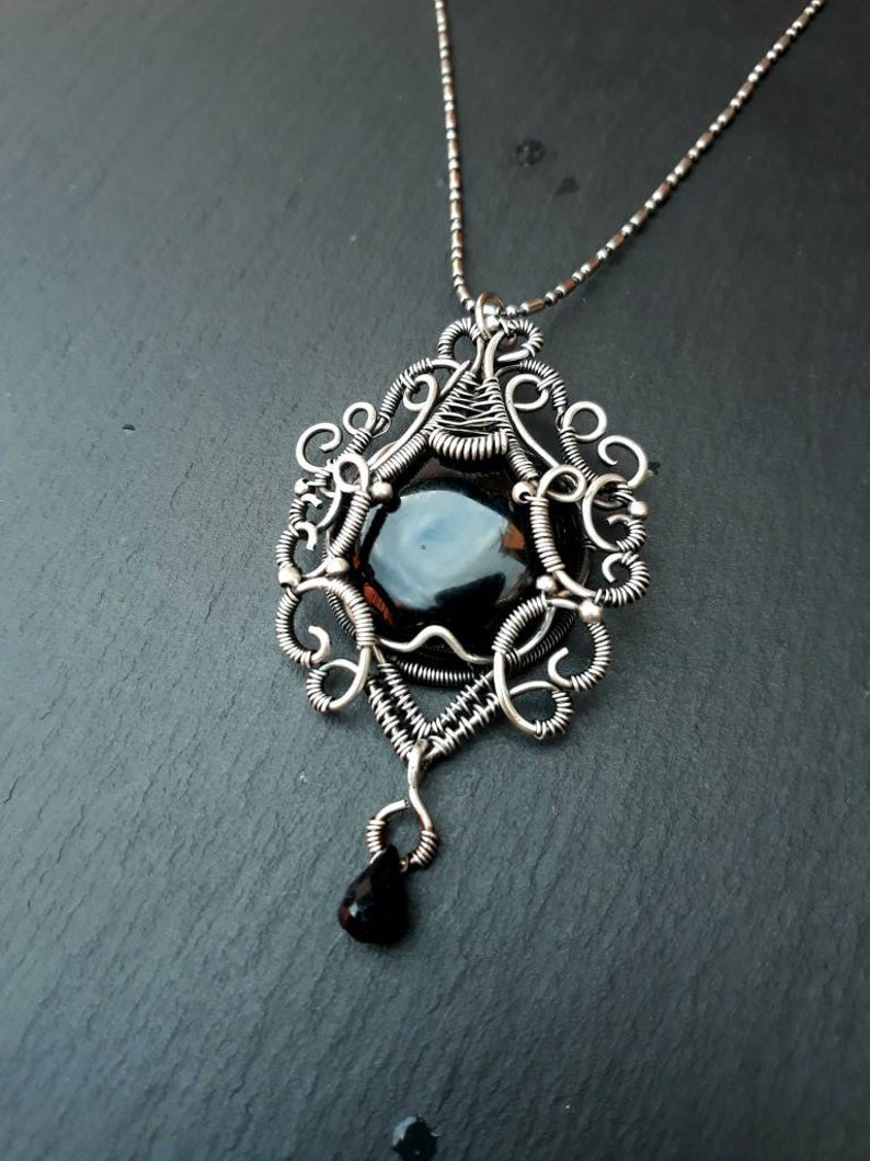 Black Onyx Wire Wrap Silver Gothic Necklace  Wirewrap Goth image 0