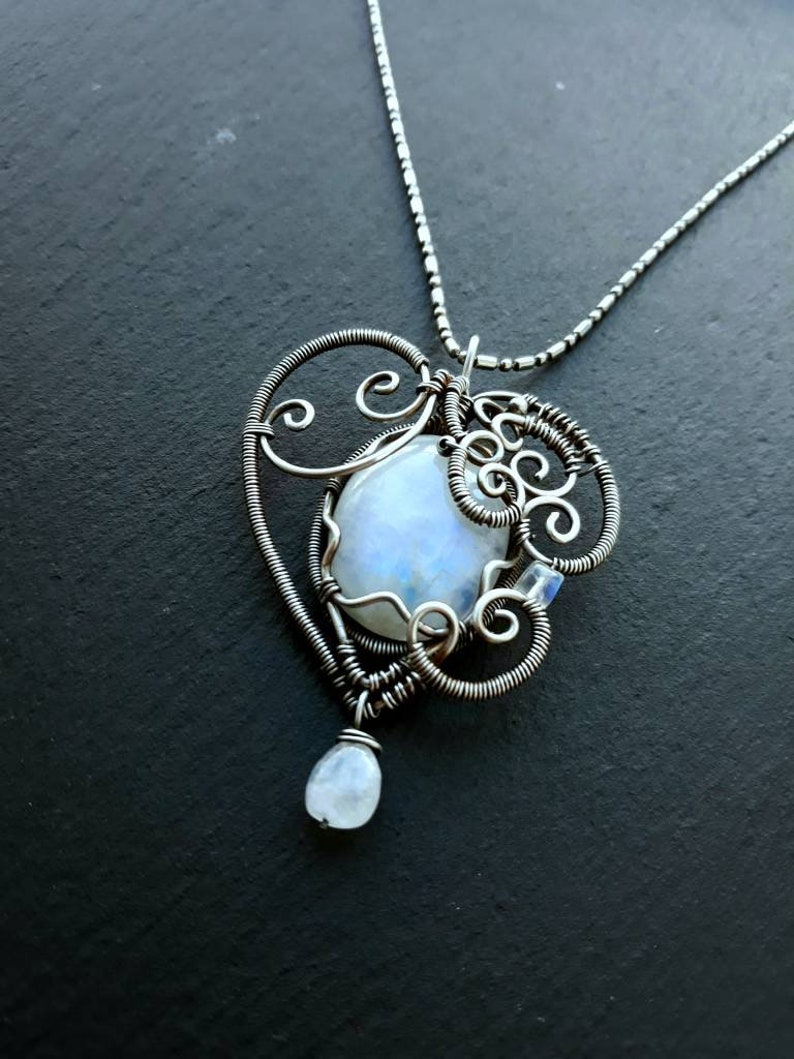 Rainbow Moonstone Silver Heart Wirewrap Pendant  Wire Wrapped image 0