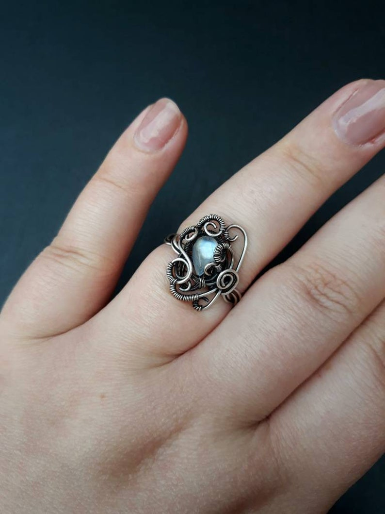 Blue Rainbow Moonstone Silver Twisted Ring  Gothic Gemstone image 0