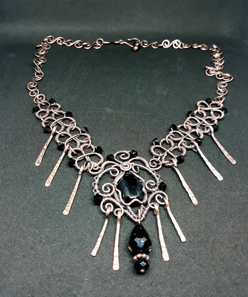 Gothic Copper WireWrapped Onyx Necklace  Tribal Statement image 0
