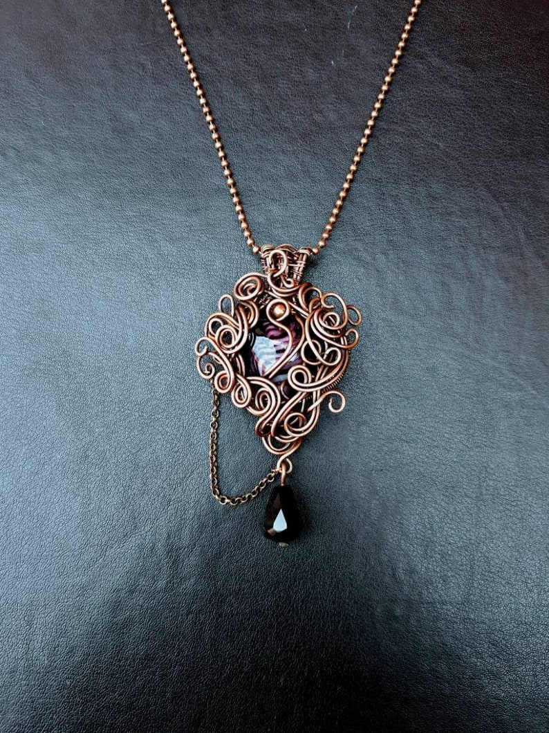 Copper Wire-wrapped Purple Heart Steampunk Gothic Pendant  image 0