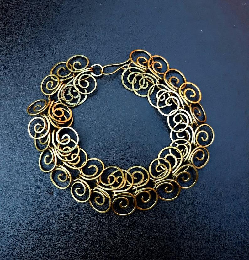 Solid Brass Egyptian Coil Bracelet  Golden Swirl Chain image 0