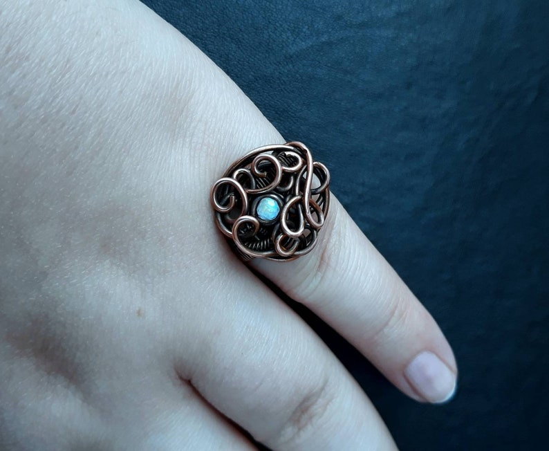 Rainbow Moonstone Copper Wire-wrapped Swirl Statement Ring UK image 0