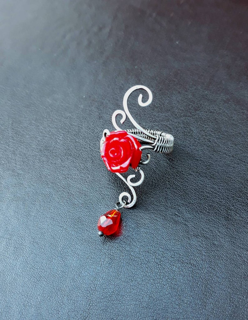 Red Rose Gothic Statement Ring in Aged Silver  Goth Flower image 0