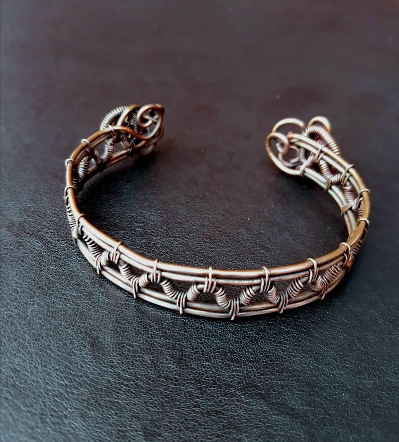 Copper Wire-wrapped Woven Wrist Cuff / Oval Bangle Bracelet image 0