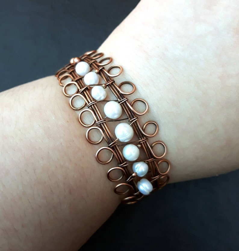 Wire-wrapped Antiqued Copper Bangle / Cuff Bracelet with White image 0