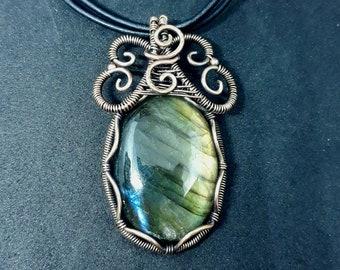 Golden Labradorite WireWrap Copper Necklace | Rainbow Gemstone Wirewrapped Pendant | Gothic, Goth, Boho, Tribal
